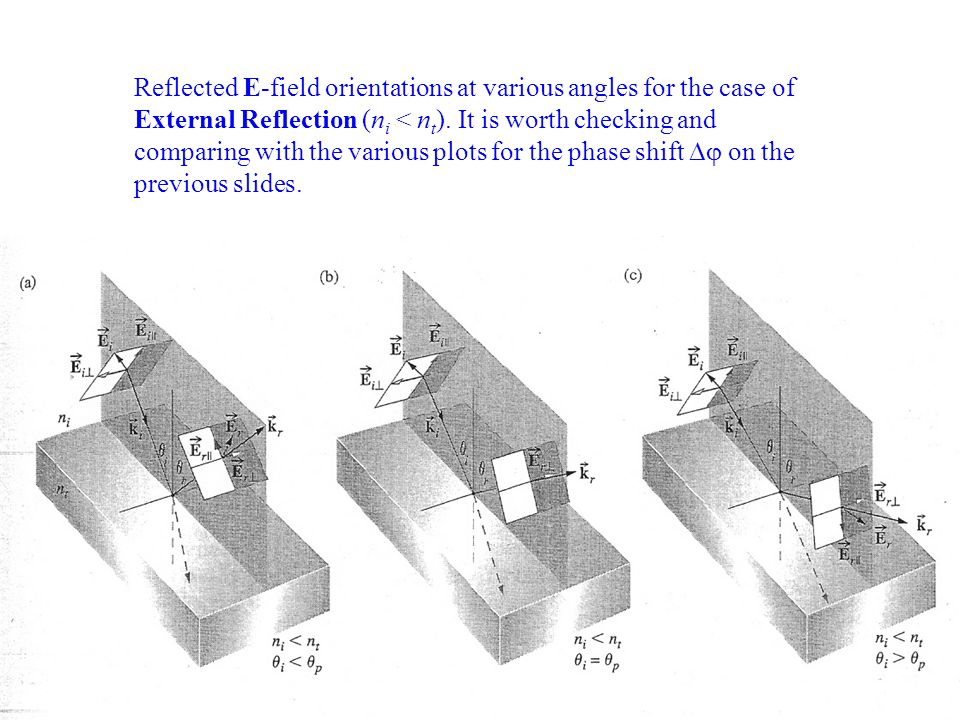 Reflected E-field orientations at various angles for the case of External Reflection (ni < nt).