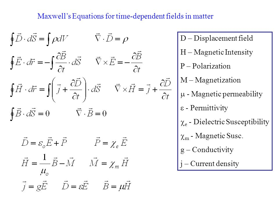 Maxwell's Equations for time-dependent fields in matter