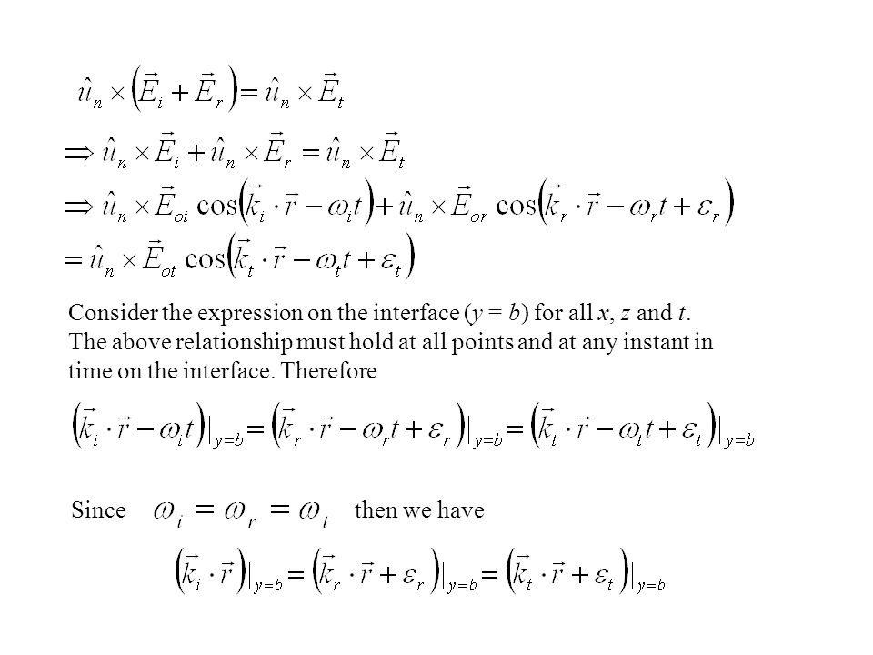 Consider the expression on the interface (y = b) for all x, z and t
