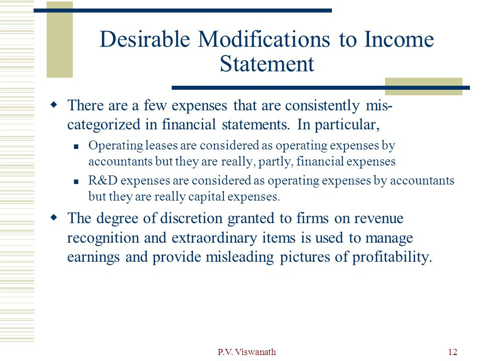 Desirable Modifications to Income Statement