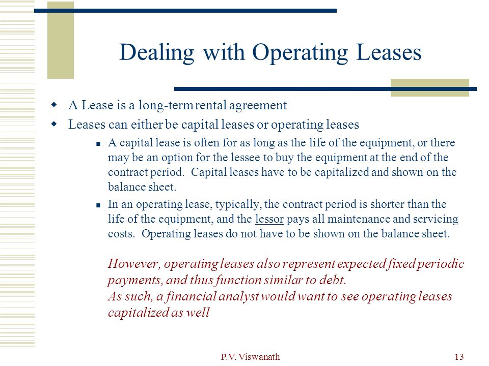 Dealing with Operating Leases