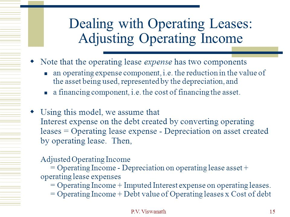 Dealing with Operating Leases: Adjusting Operating Income