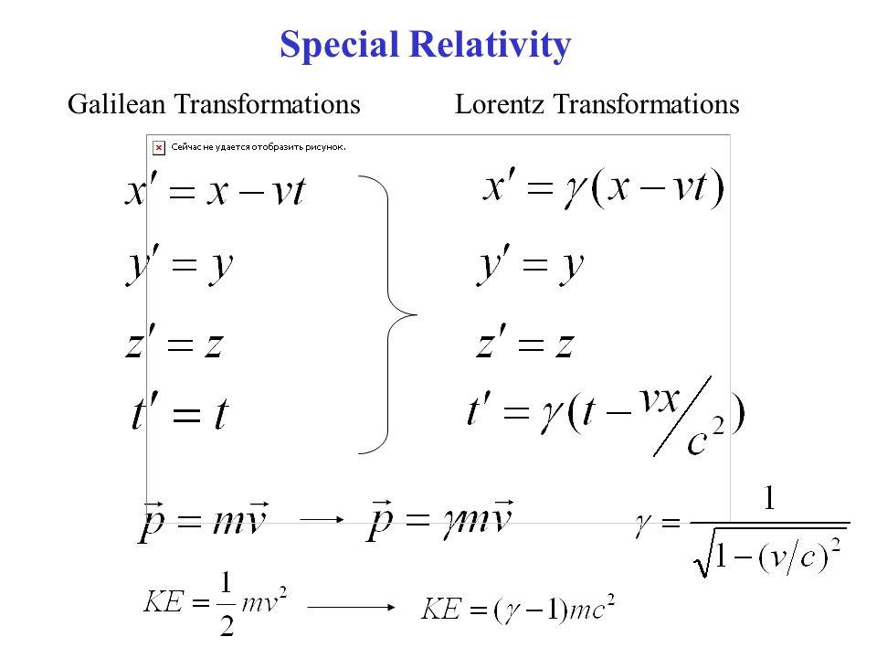Special Relativity Galilean Transformations Lorentz Transformations
