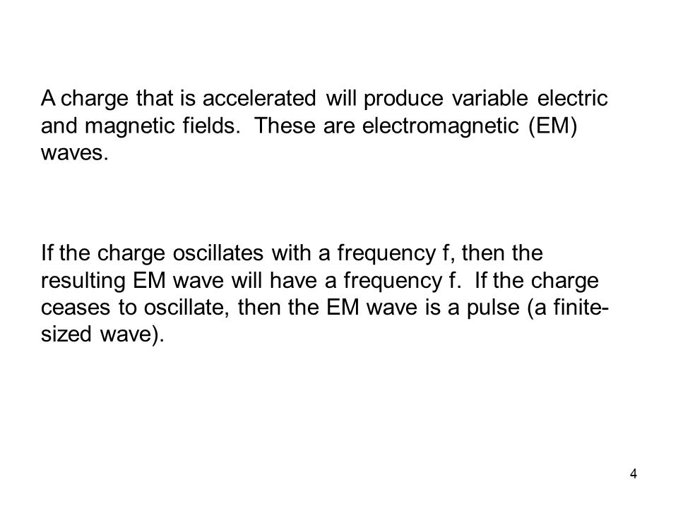 A charge that is accelerated will produce variable electric and magnetic fields. These are electromagnetic (EM) waves.
