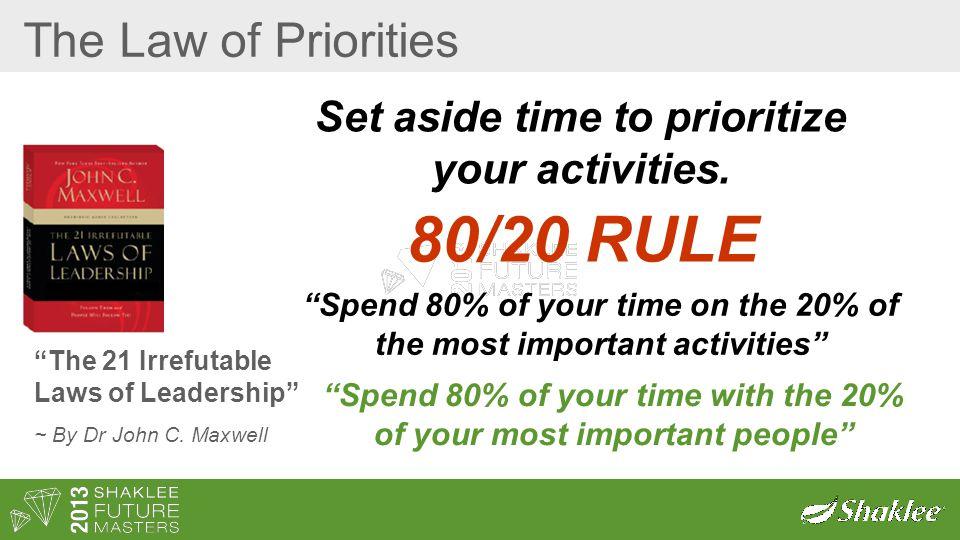80/20 RULE The Law of Priorities