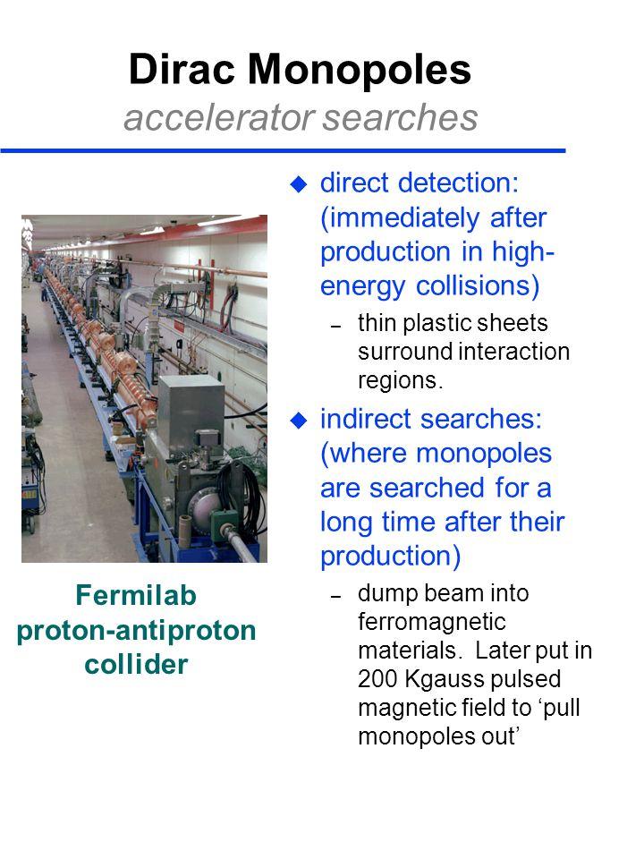 Dirac Monopoles accelerator searches
