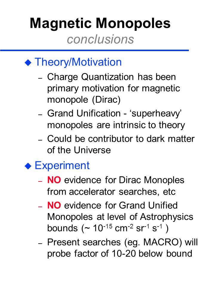 Magnetic Monopoles conclusions