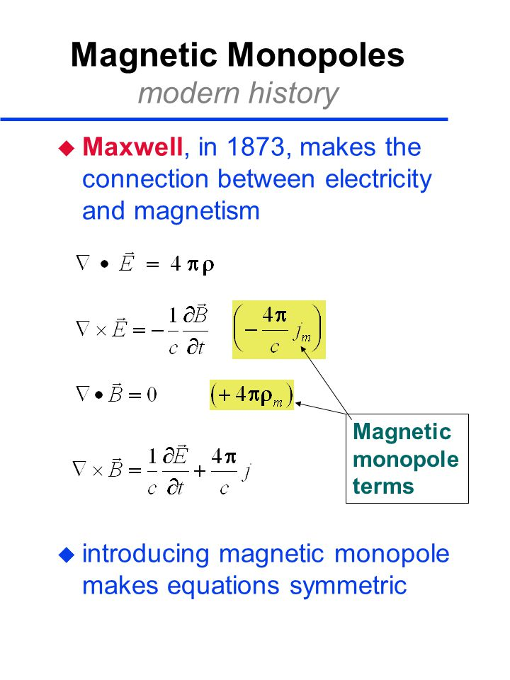 Magnetic Monopoles modern history