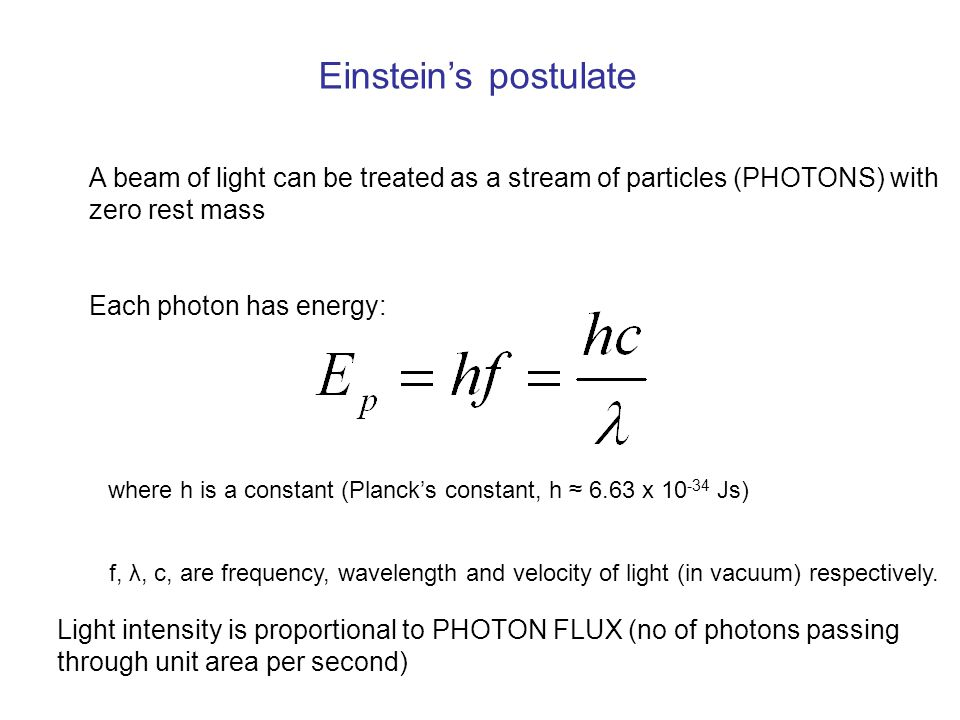 Einstein's postulate A beam of light can be treated as a stream of particles (PHOTONS) with zero rest mass.