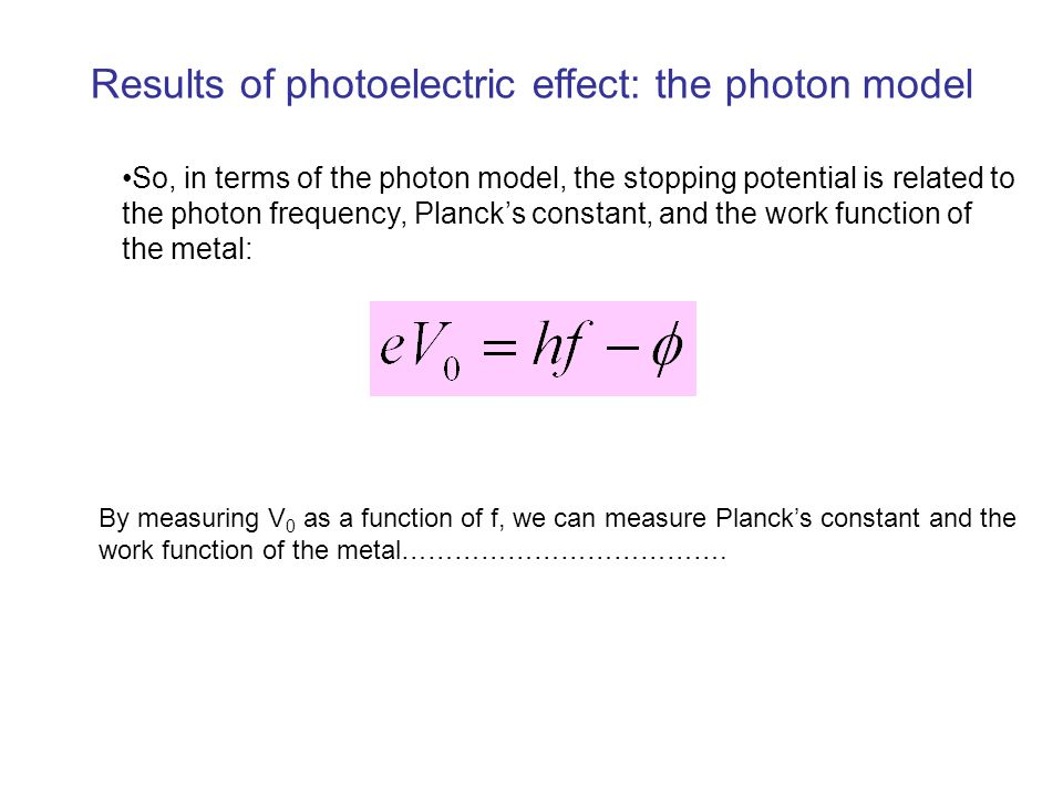 Results of photoelectric effect: the photon model