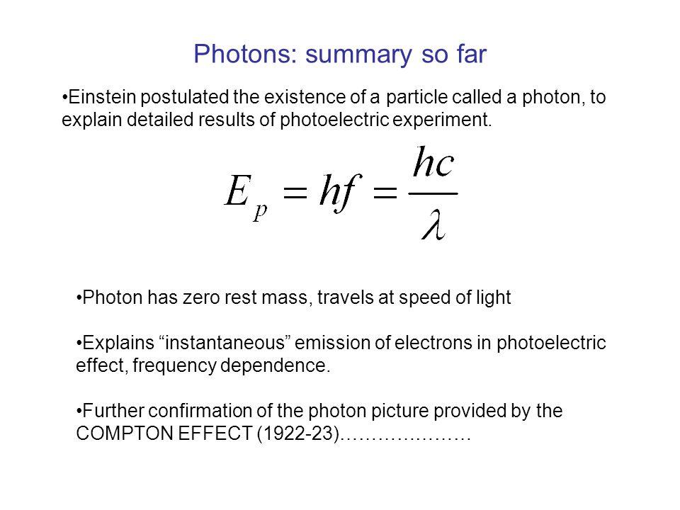 Photons: summary so far