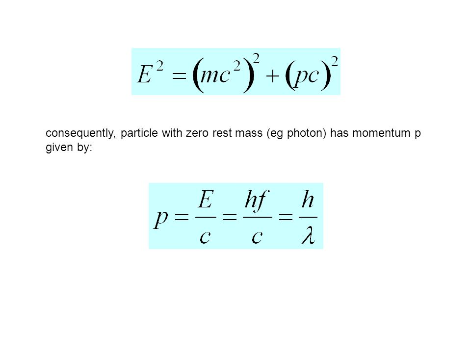 consequently, particle with zero rest mass (eg photon) has momentum p