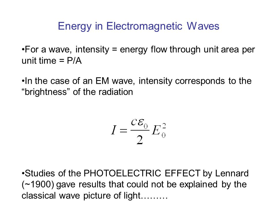 Energy in Electromagnetic Waves