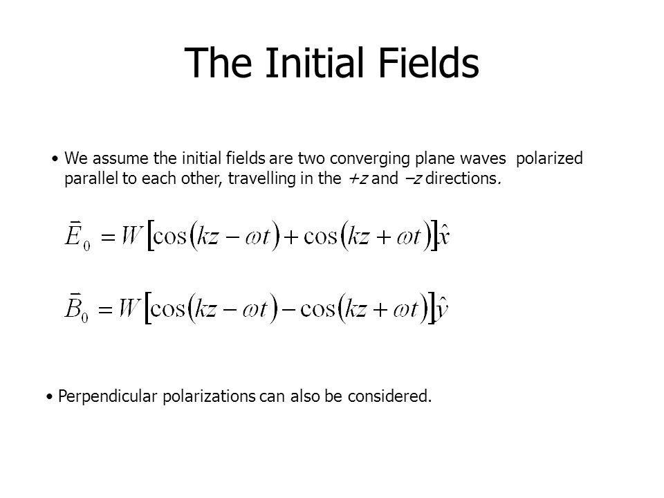 The Initial Fields
