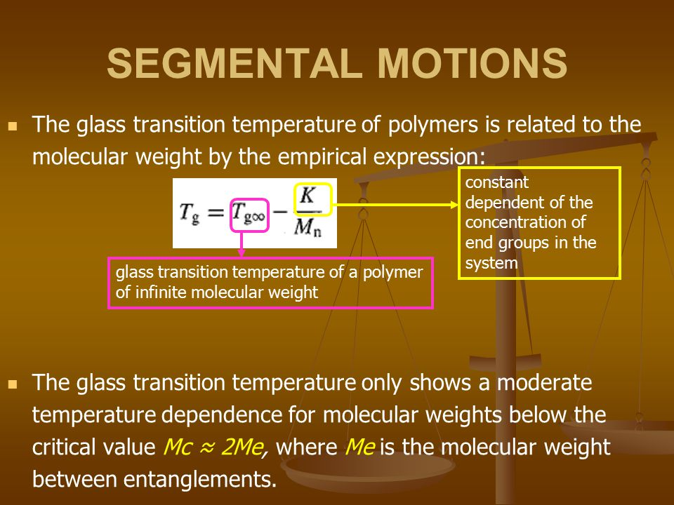 SEGMENTAL MOTIONS The glass transition temperature of polymers is related to the molecular weight by the empirical expression: