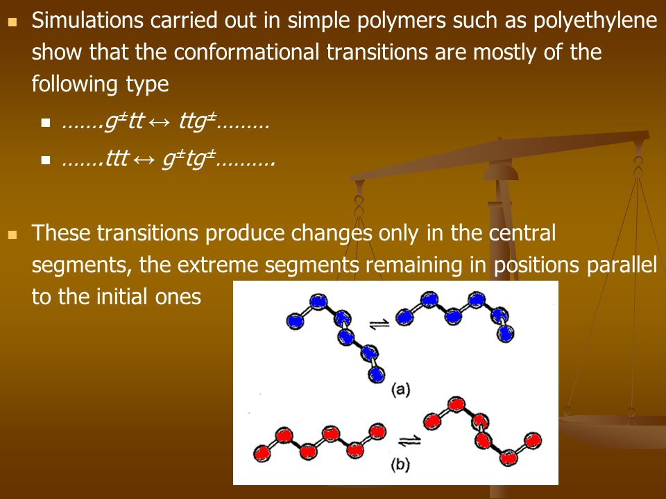 Simulations carried out in simple polymers such as polyethylene show that the conformational transitions are mostly of the following type