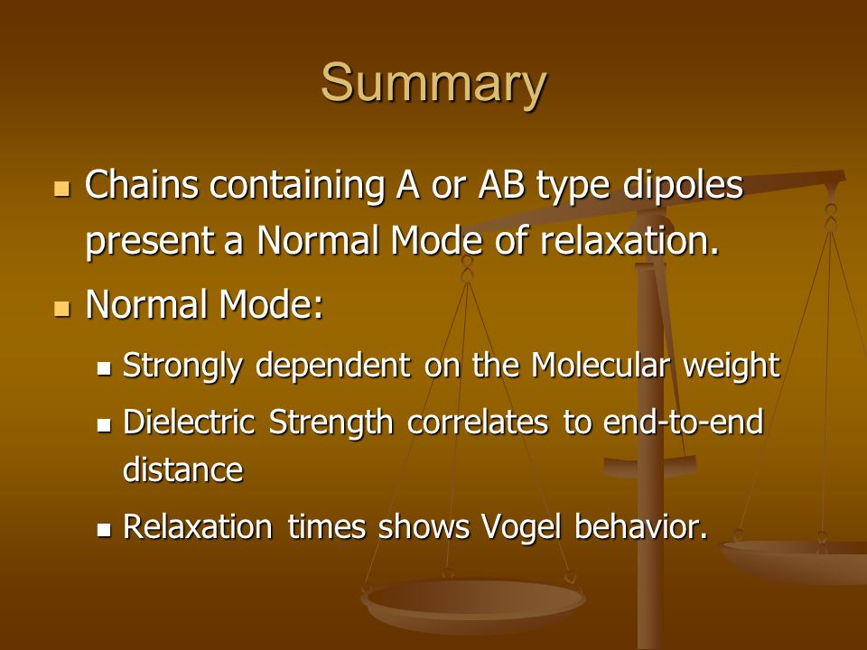 Summary Chains containing A or AB type dipoles present a Normal Mode of relaxation. Normal Mode: Strongly dependent on the Molecular weight.