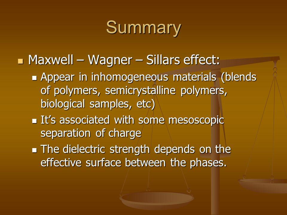 Summary Maxwell – Wagner – Sillars effect: