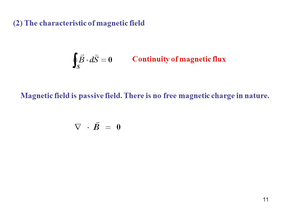 (2) The characteristic of magnetic field