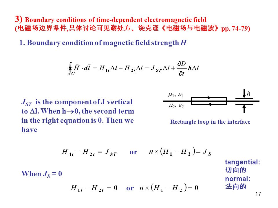 3) Boundary conditions of time-dependent electromagnetic field