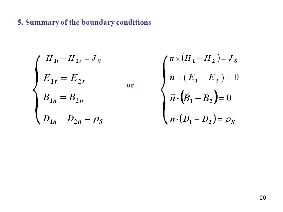 5. Summary of the boundary conditions
