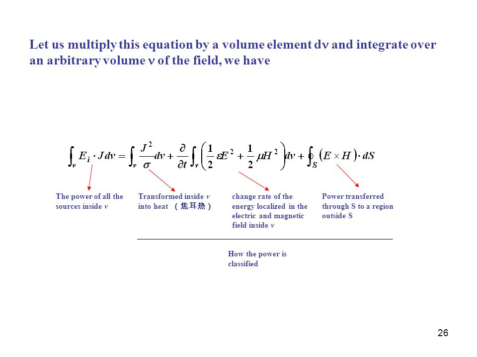 Let us multiply this equation by a volume element d and integrate over an arbitrary volume  of the field, we have