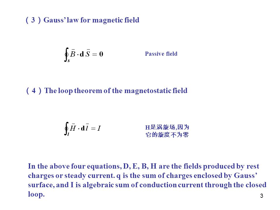 (3)Gauss' law for magnetic field