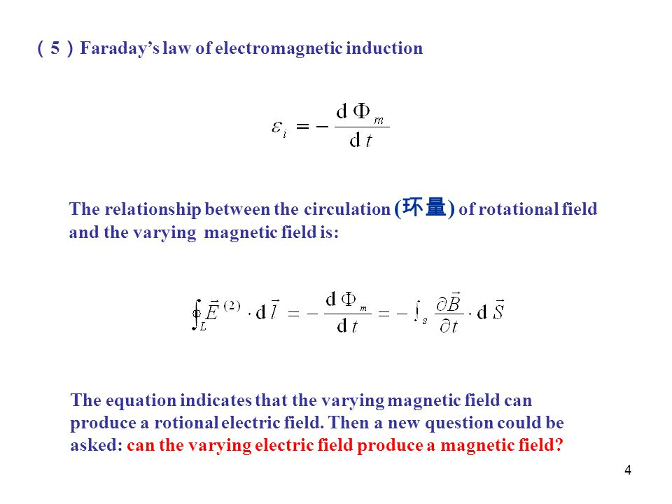 (5)Faraday's law of electromagnetic induction