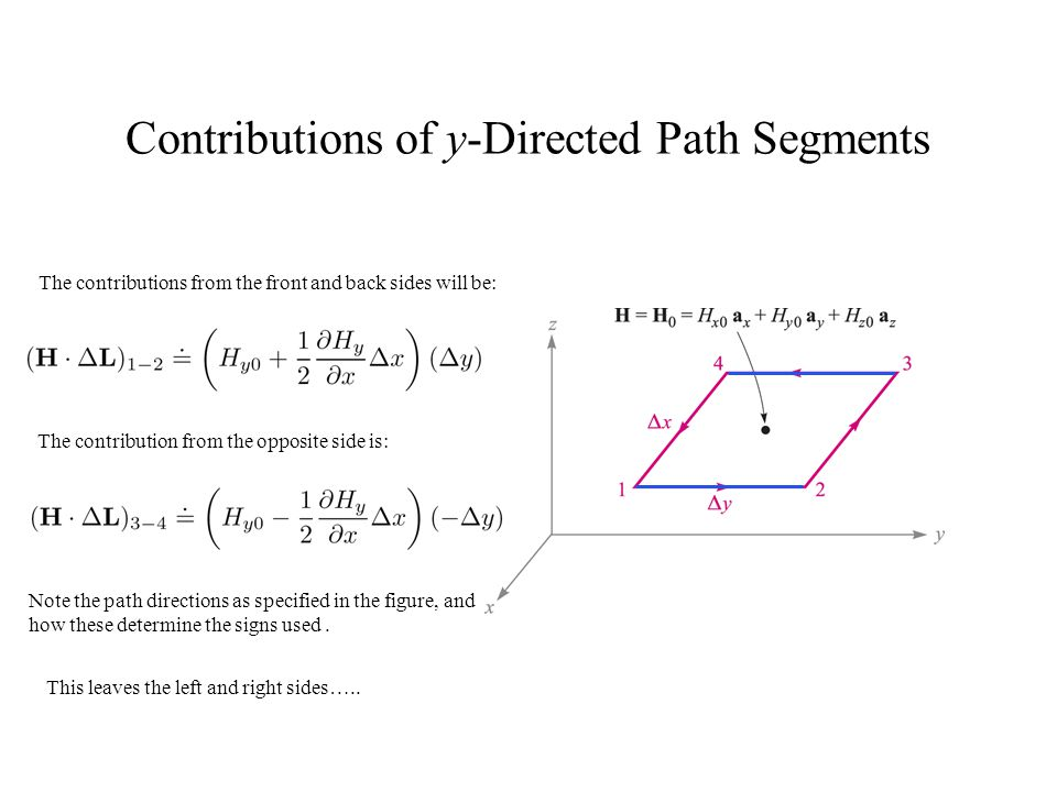 Contributions of y-Directed Path Segments