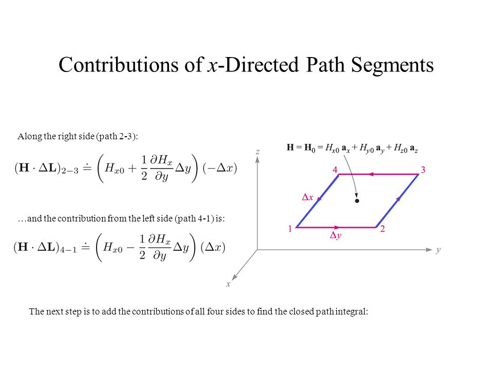 Contributions of x-Directed Path Segments