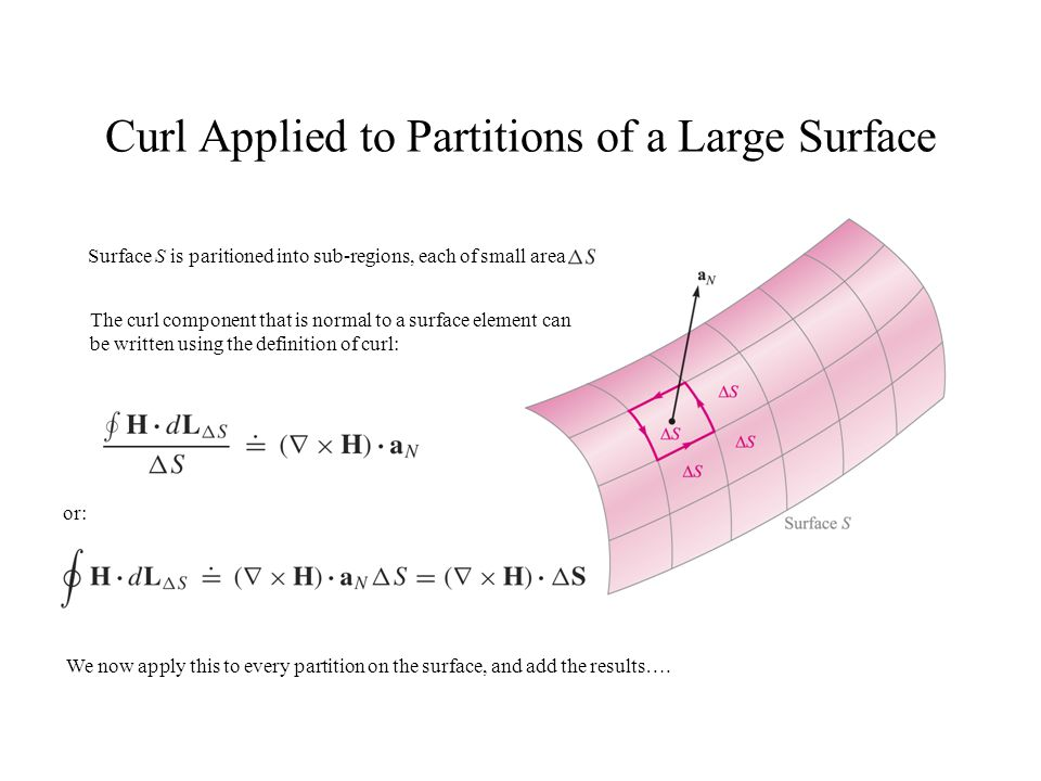 Curl Applied to Partitions of a Large Surface