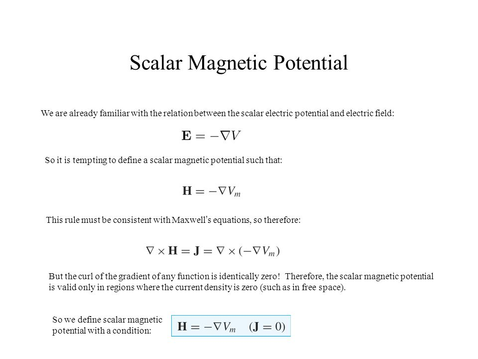 Scalar Magnetic Potential