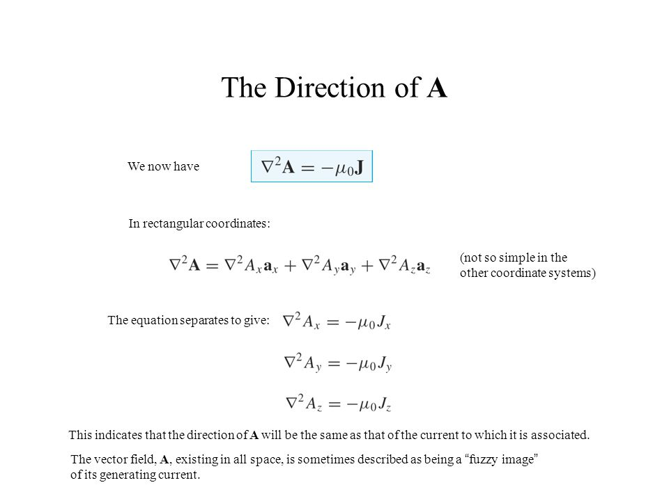 The Direction of A We now have In rectangular coordinates:
