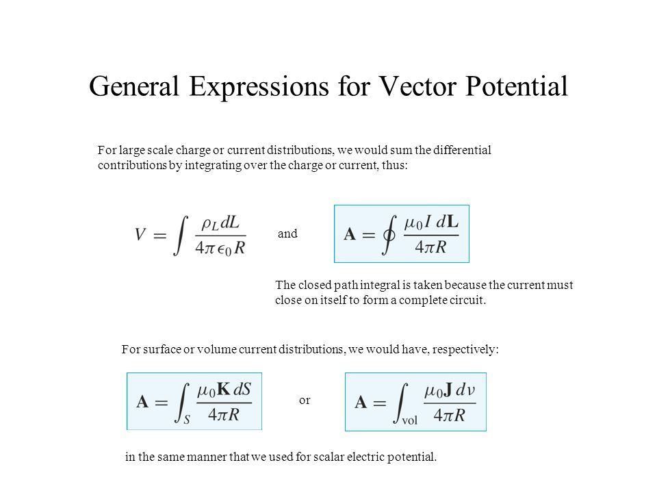 General Expressions for Vector Potential