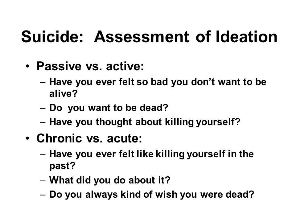 Suicide: Assessment of Ideation