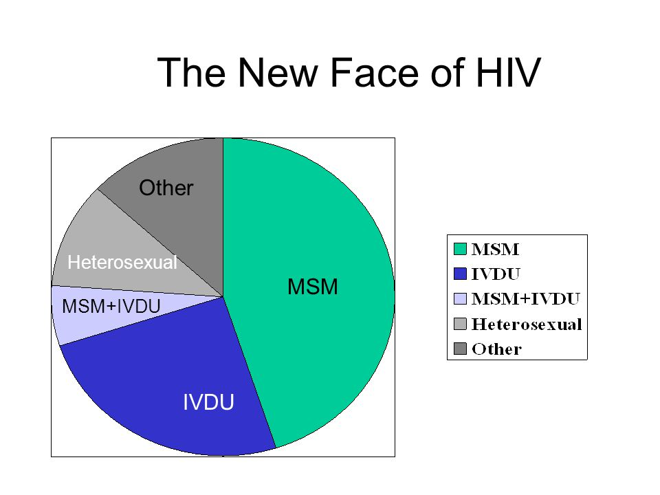 The New Face of HIV Other Heterosexual MSM MSM+IVDU IVDU