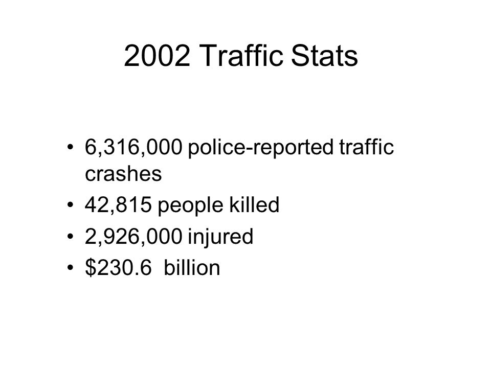 2002 Traffic Stats 6,316,000 police-reported traffic crashes
