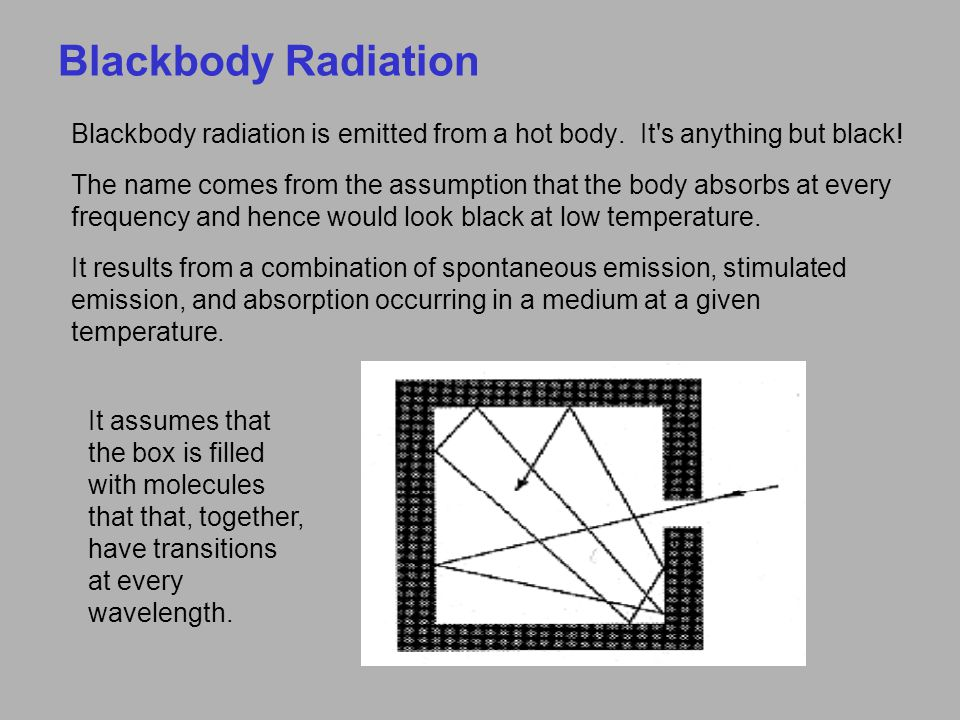 Blackbody Radiation Blackbody radiation is emitted from a hot body. It s anything but black!