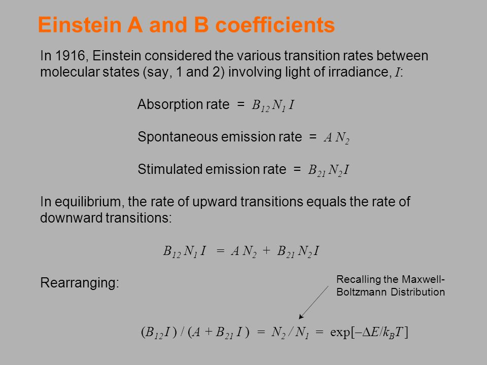 Einstein A and B coefficients