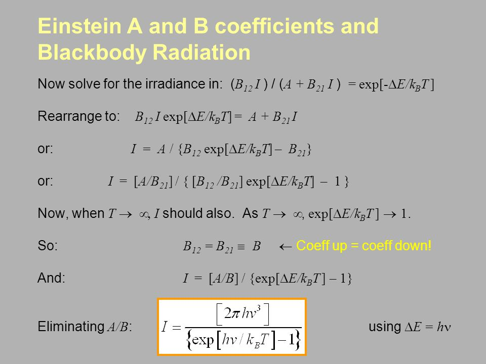 Einstein A and B coefficients and Blackbody Radiation
