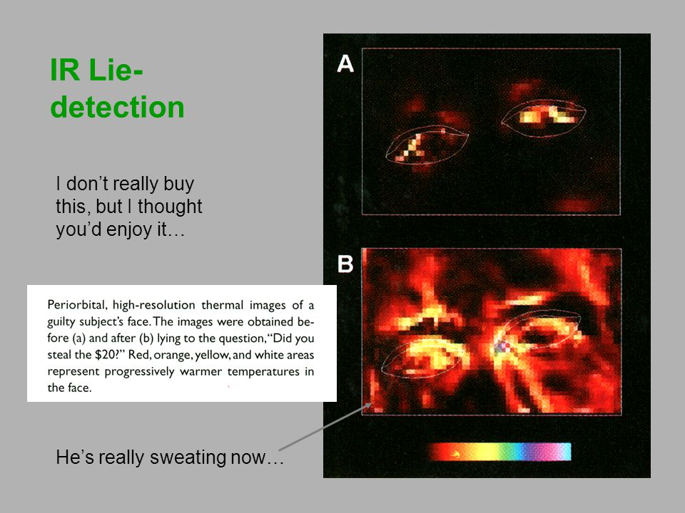IR Lie-detection I don't really buy this, but I thought you'd enjoy it… He's really sweating now…