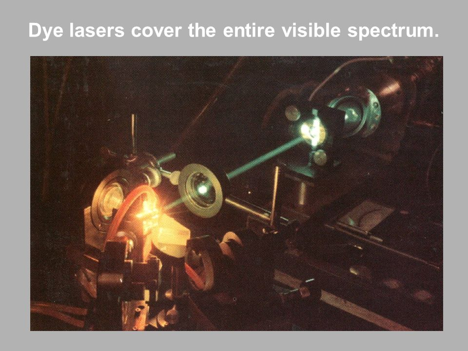 Dye lasers cover the entire visible spectrum.
