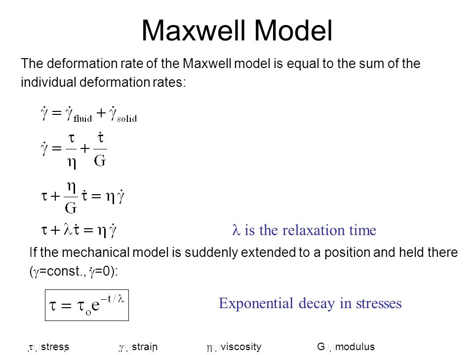 Maxwell Model l is the relaxation time . Exponential decay in stresses