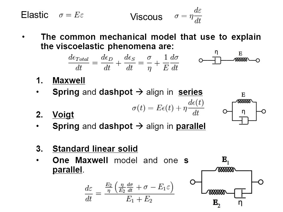 Elastic Viscous. The common mechanical model that use to explain the viscoelastic phenomena are: Maxwell.
