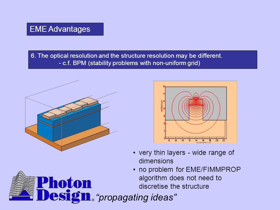 EME Advantages very thin layers - wide range of dimensions