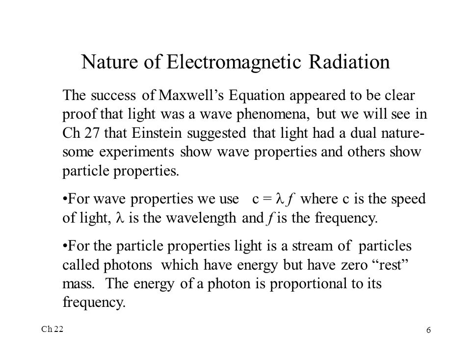 Nature of Electromagnetic Radiation