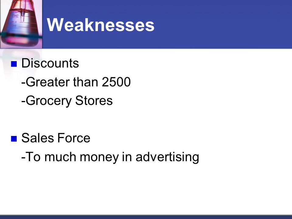Weaknesses Discounts -Greater than 2500 -Grocery Stores Sales Force