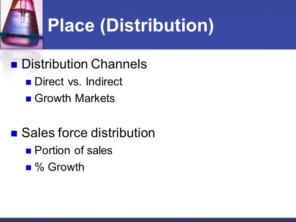 Place (Distribution) Distribution Channels Sales force distribution