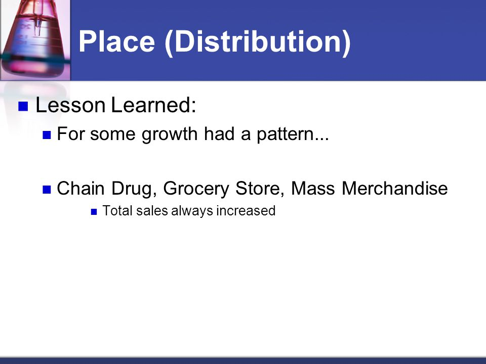Place (Distribution) Lesson Learned: For some growth had a pattern...