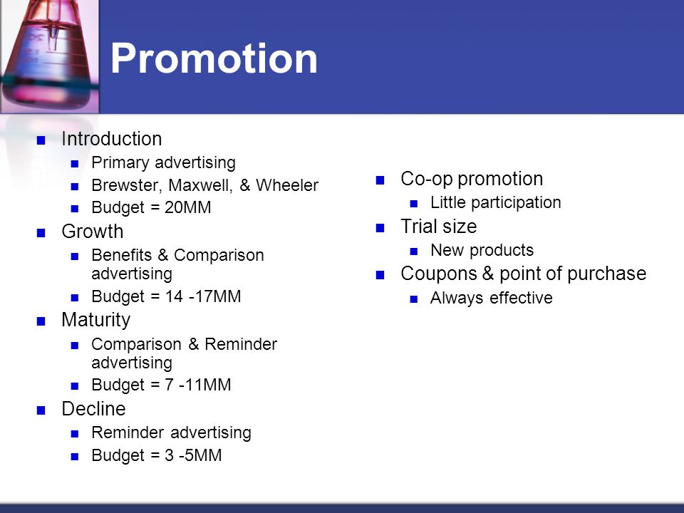 Promotion Introduction Co-op promotion Growth Trial size